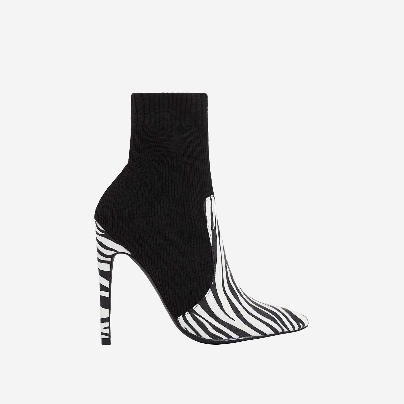 Phoenix Knitted Sock Boot In Zebra Print Faux Suede