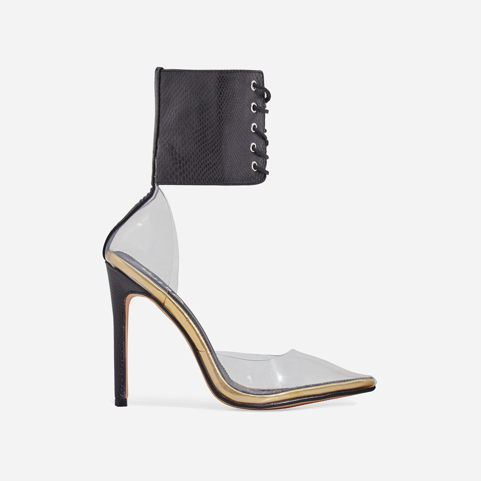 Play Lace Up Perspex Heel In Black Snake Print Faux Leather