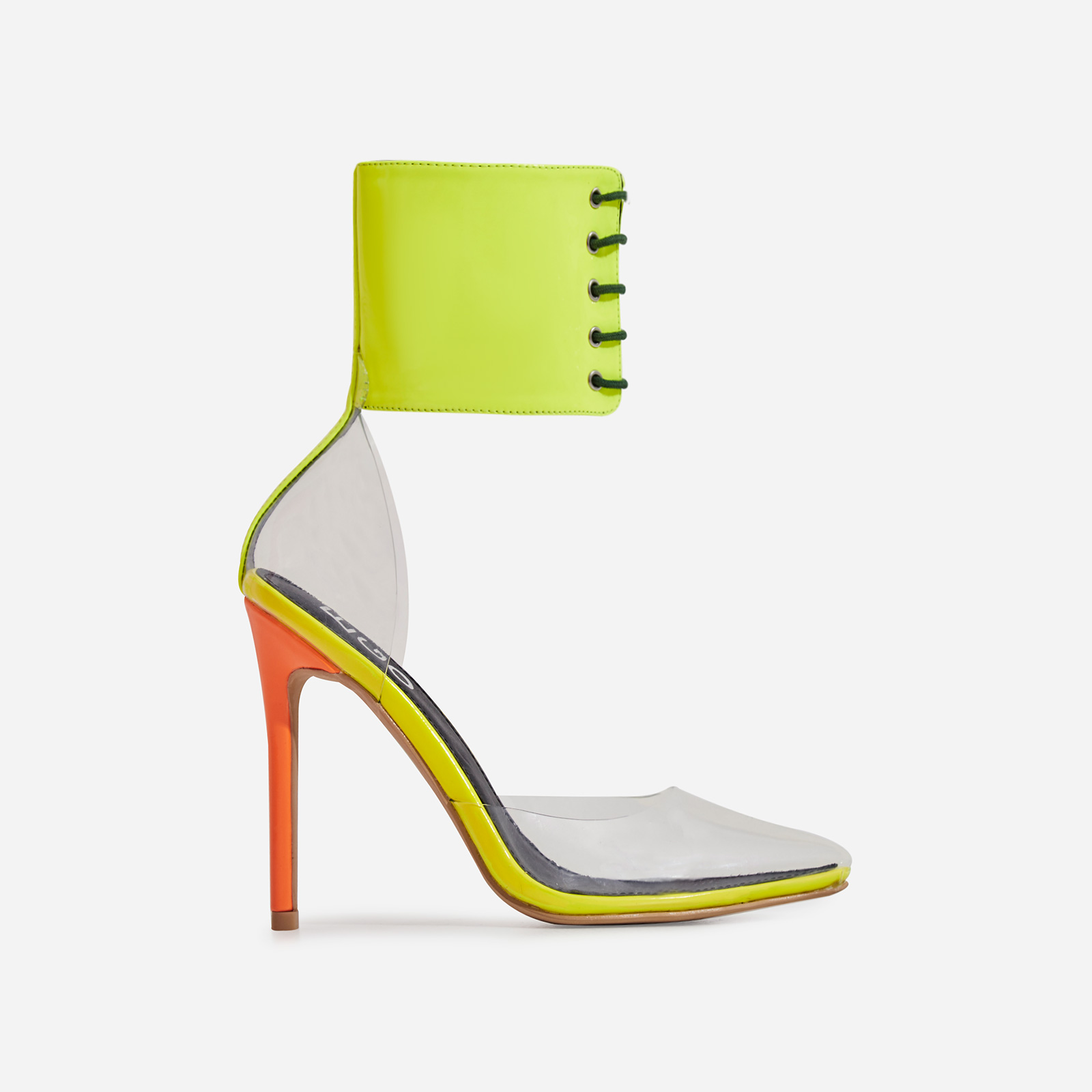 Play Lace Up Perspex Heel In Neon Multi Colour Faux Leather