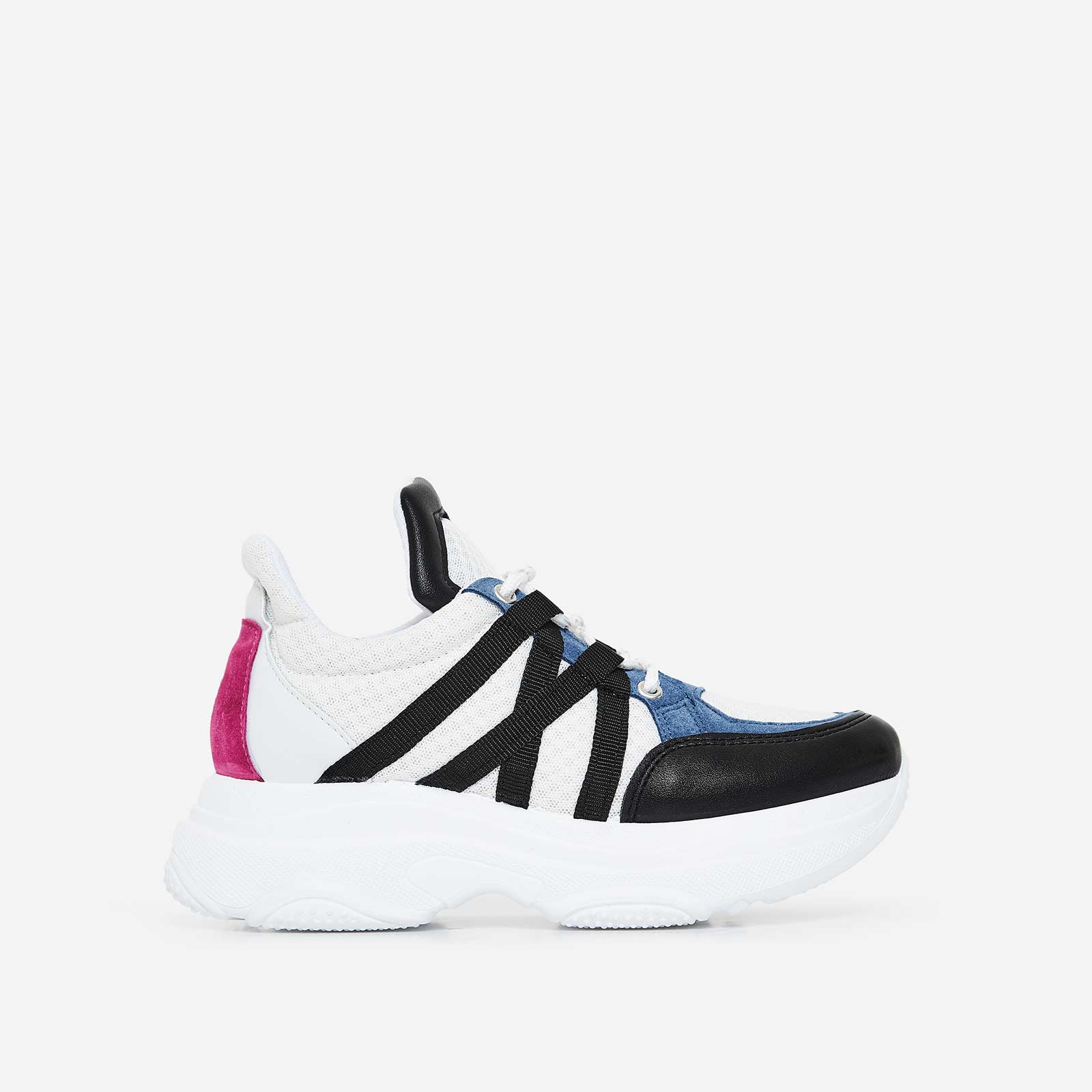 Pluto Chunky Trainer In Black And Blue