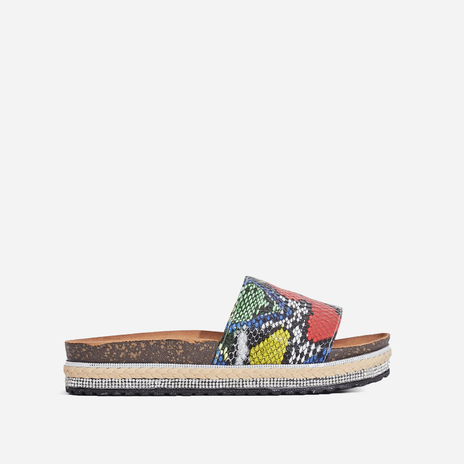 Calli Studded Detail Espadrille Sandal In Multi Snake Print Faux Leather