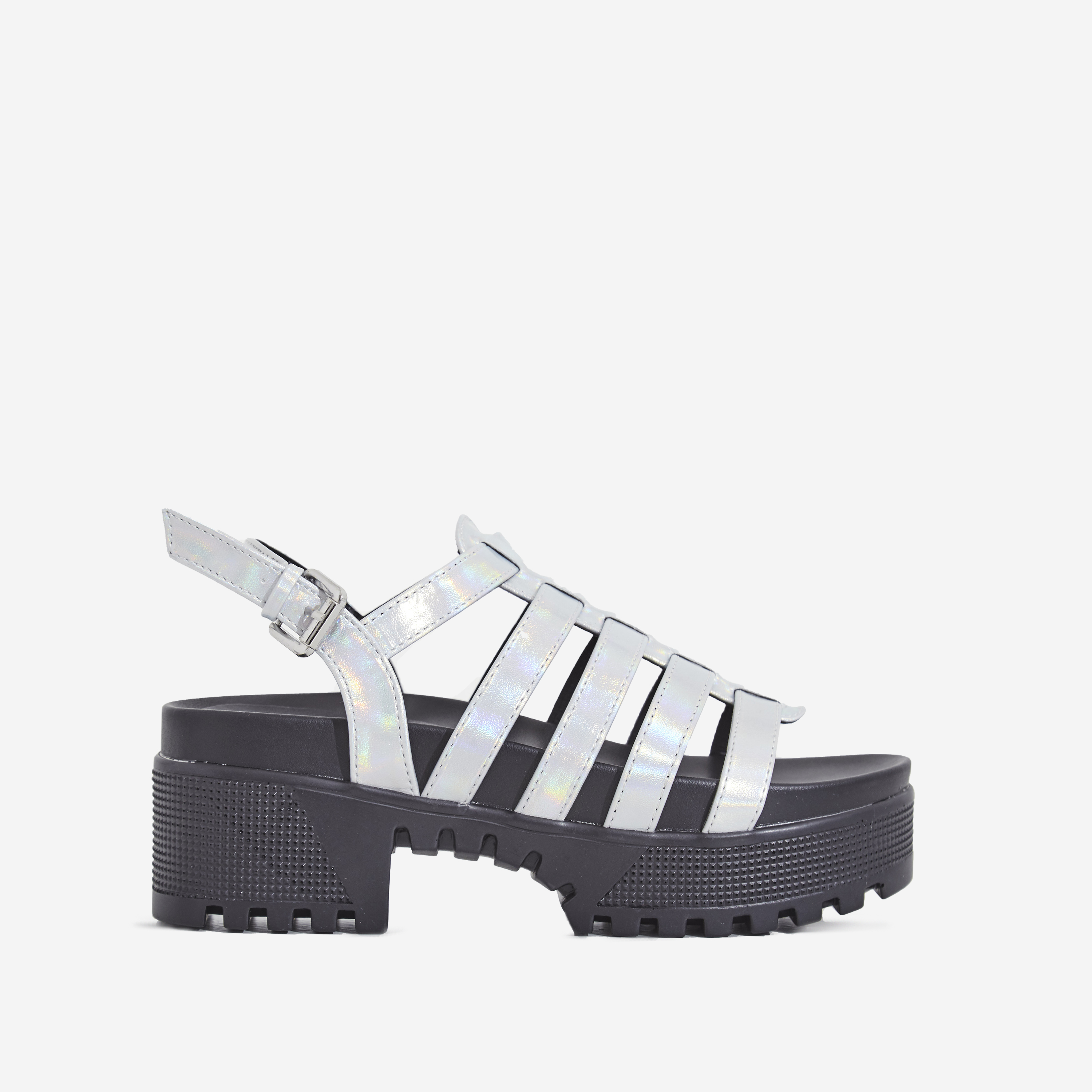 Poker Chunky Sole Sandal In Silver Holographic Faux Suede
