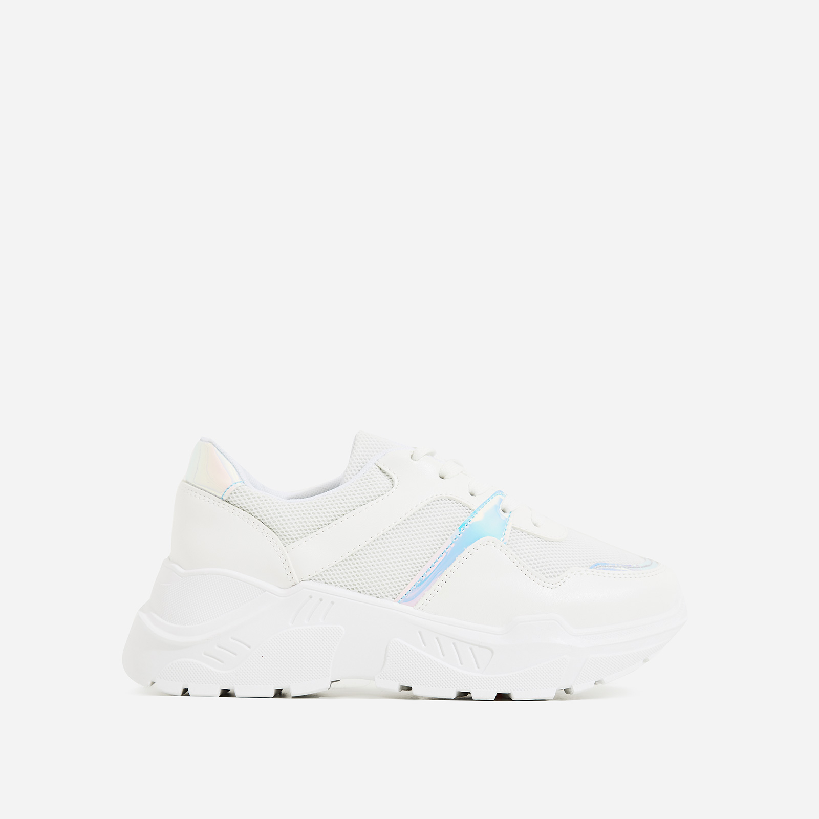 Jensen Chunky Sole Mesh Trainers In White Faux Leather