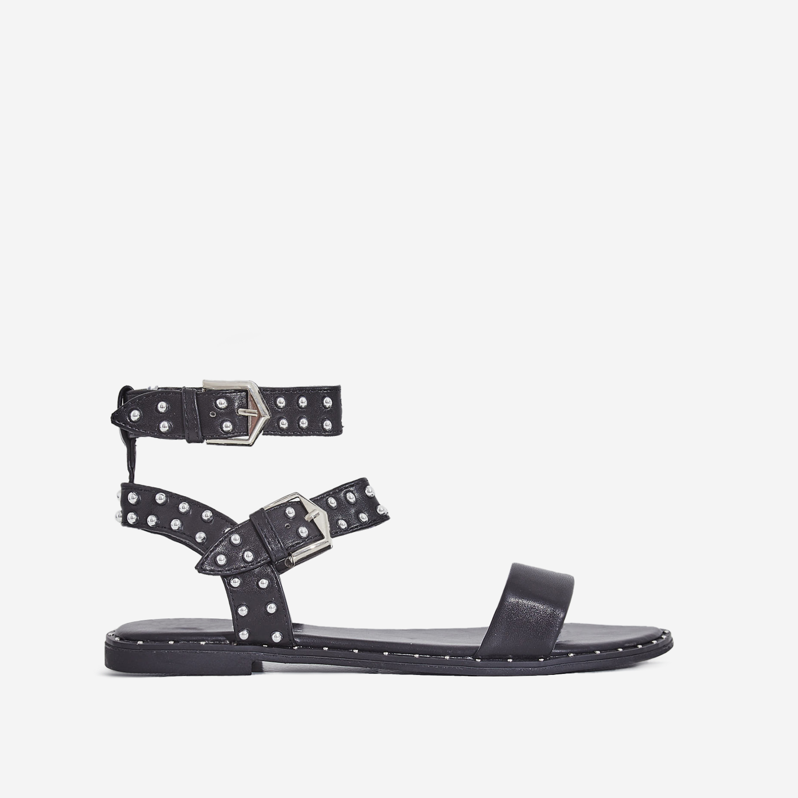 Claudia Studded Gladiator Sandal In Black Faux Leather