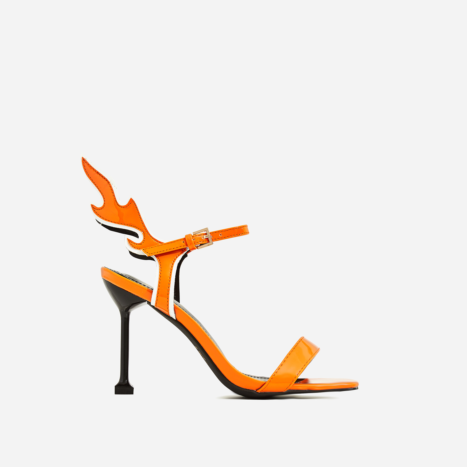 Iggy Flame Detail Heel In Orange Patent