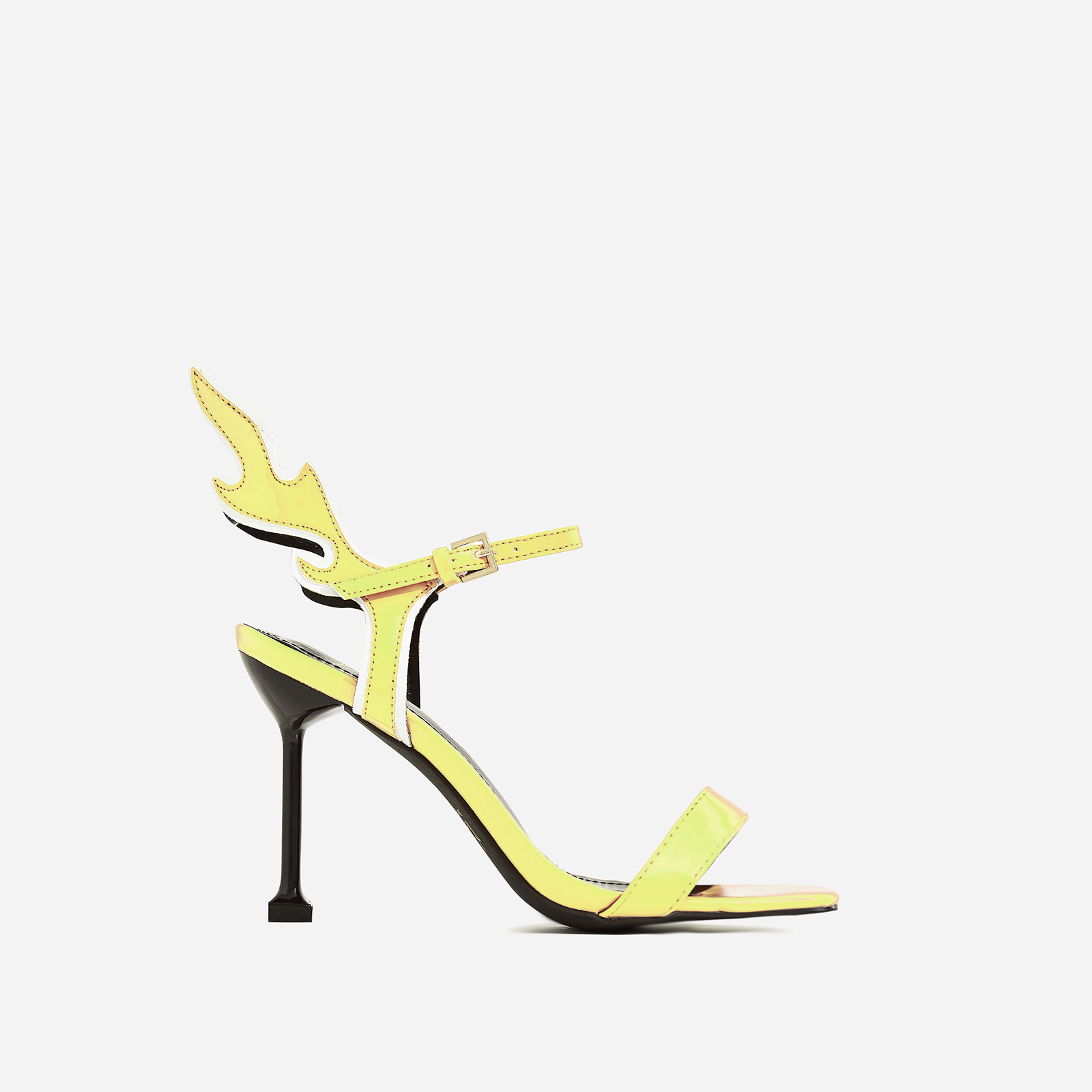 Iggy Flame Detail Heel In Yellow Patent