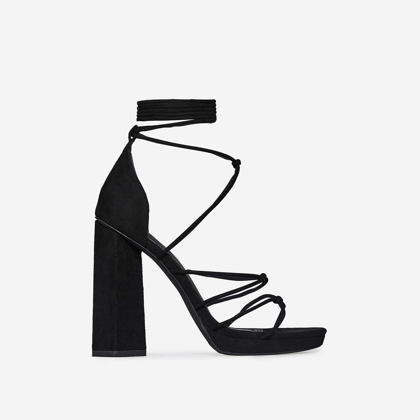 Rae Knot Detail Lace Up Platform Heel In Black Faux Suede
