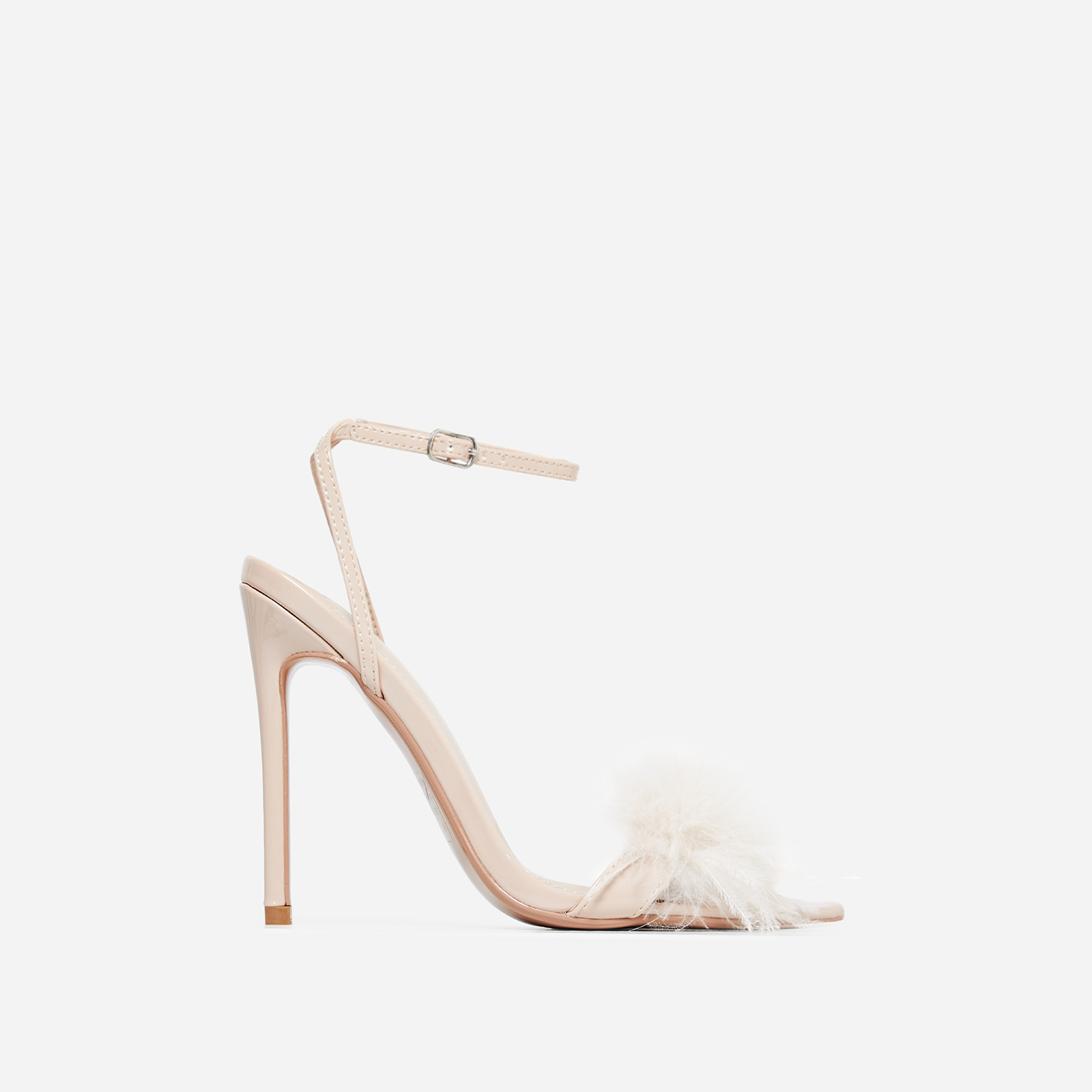 Rae Faux Feather Fluffy Heel In Nude Faux Leather