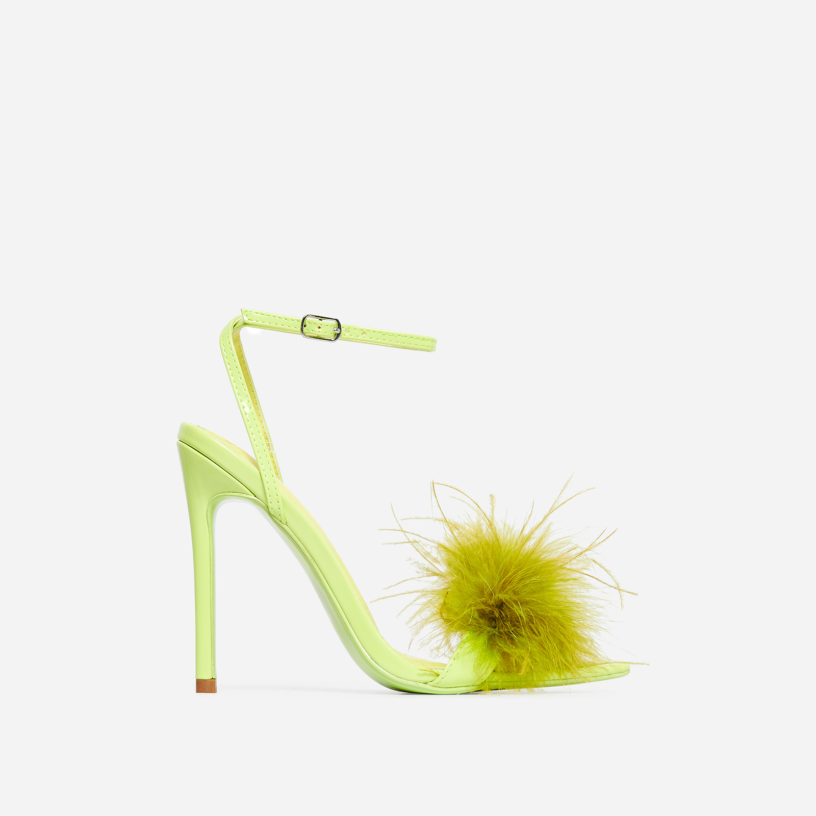 Rae Faux Feather Fluffy Heel In Green Faux Leather