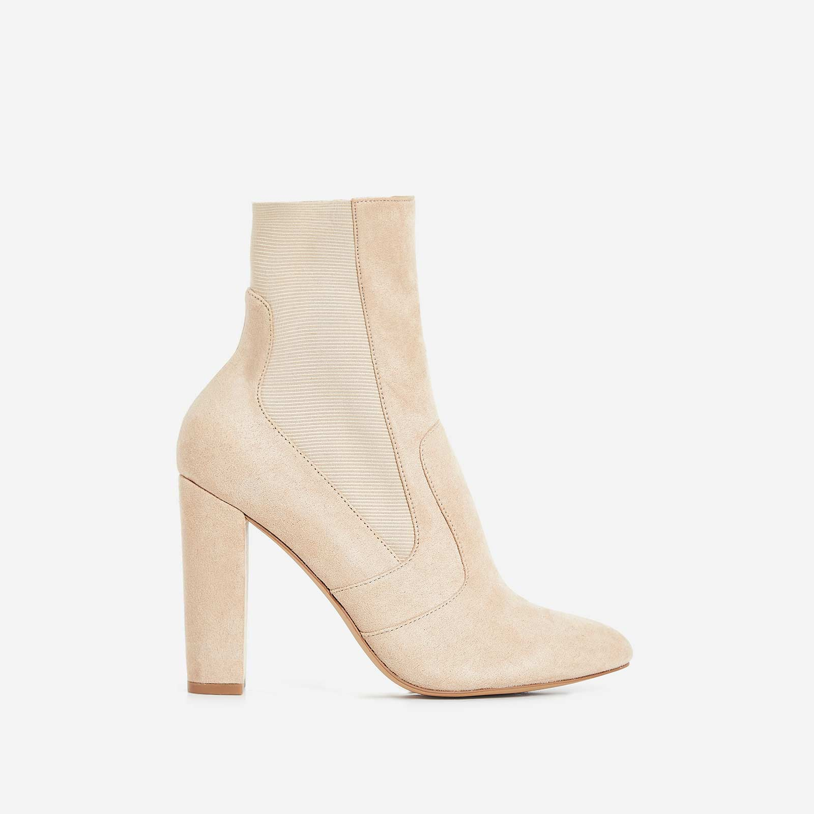 Rafael Block Heel Ankle Sock Boot In Nude Faux Suede