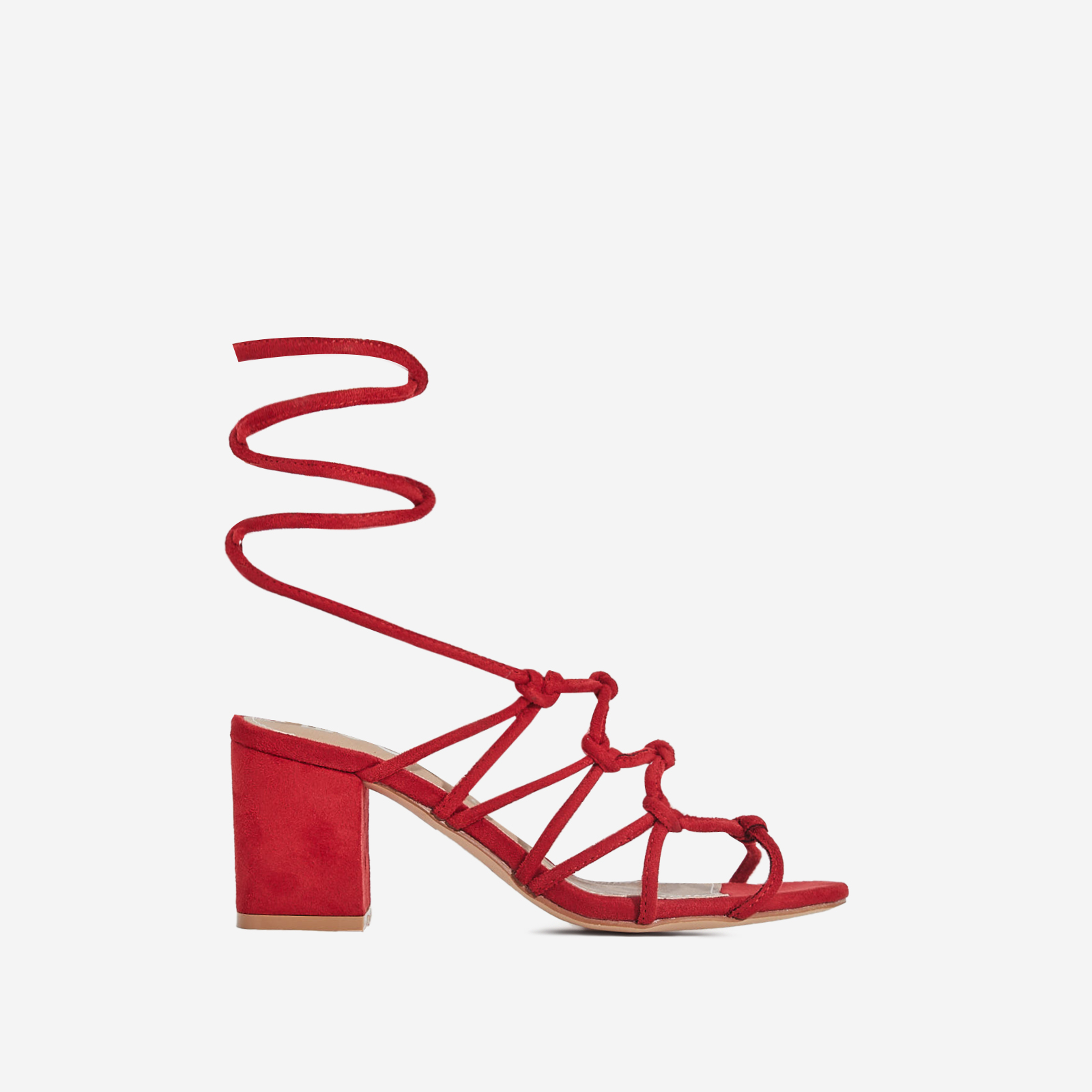 Raffi Midi Block Heel Lace Up Heel In Red Faux Suede