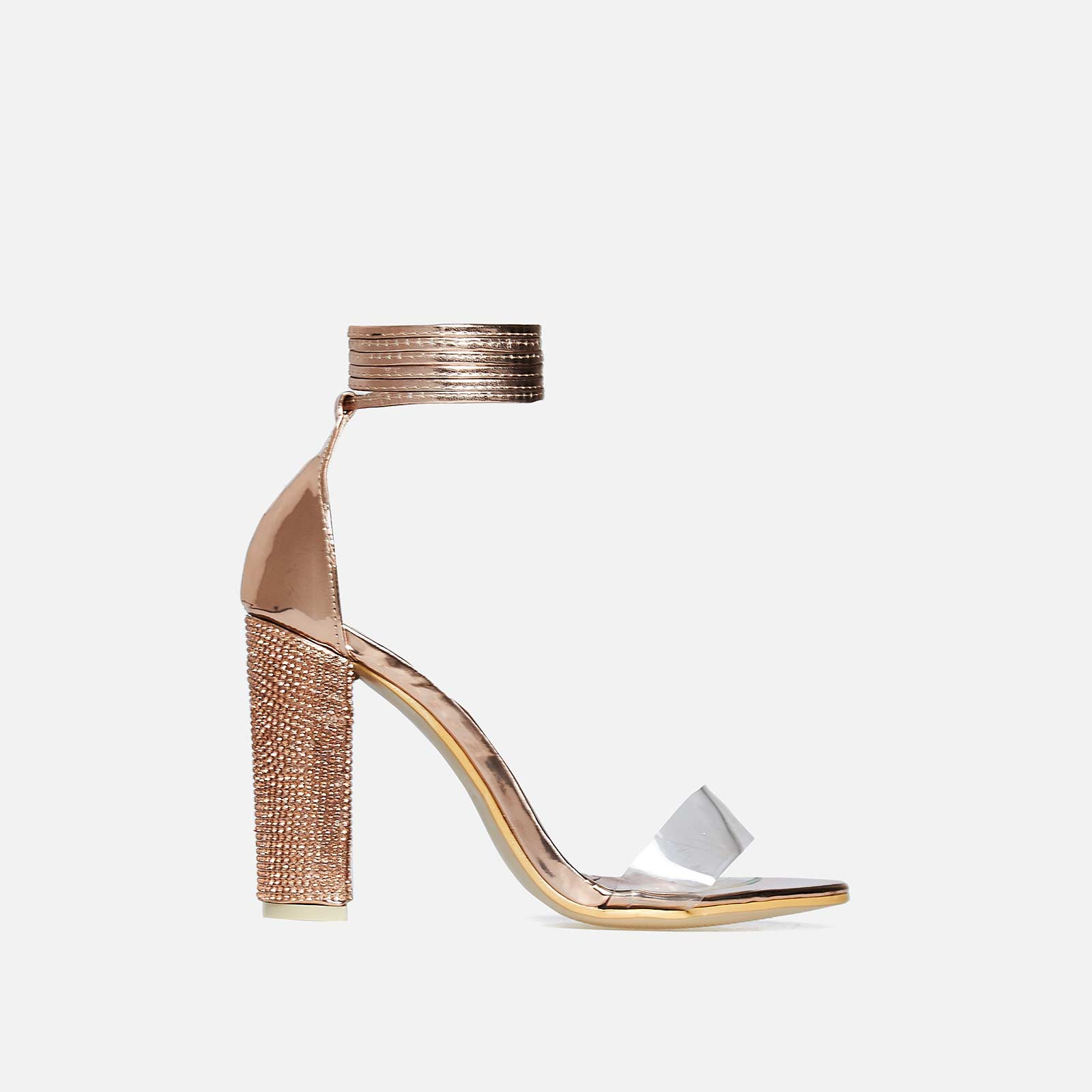 Harriet Lace Up Diamante Heel In Rose Gold Faux Leather