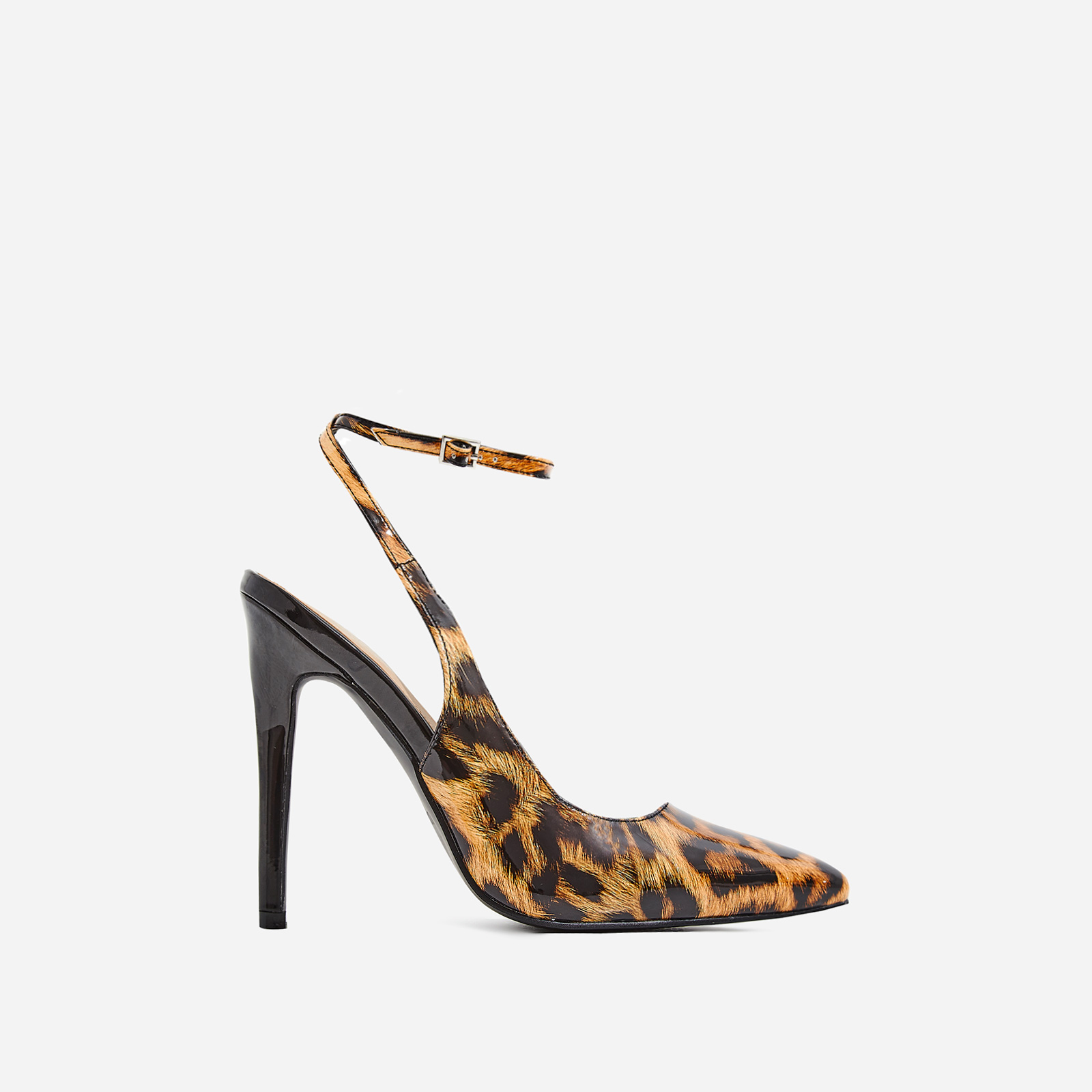 Raina Strappy Court Heel In Tan Leopard Patent