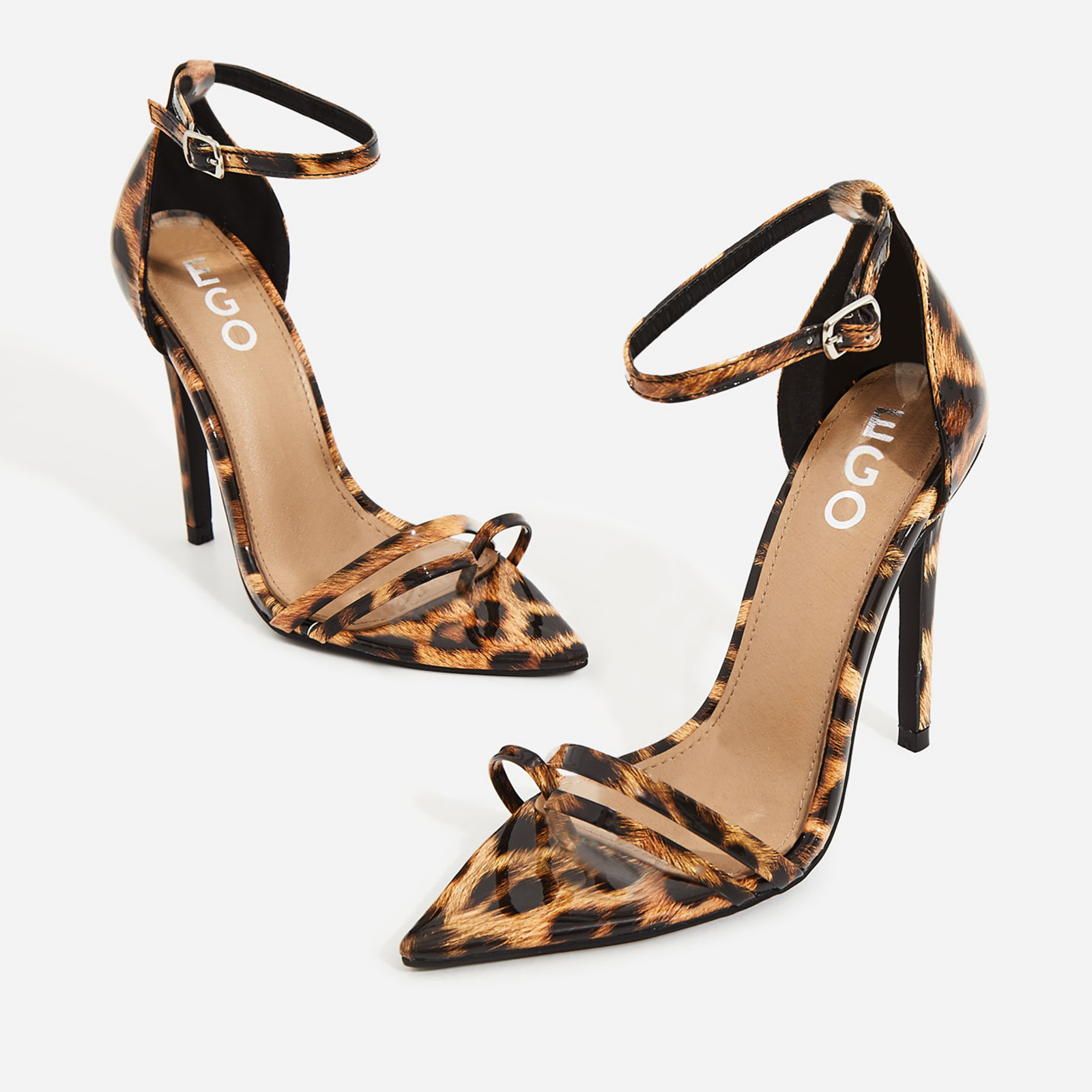 Fern Barley There Strappy Toe Post Heel In Tan Leopard Patent