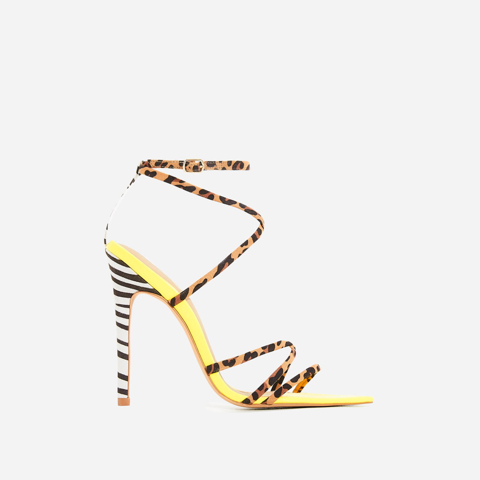 Raja Animal Print Pointed Barely There Heel In Yellow Patent
