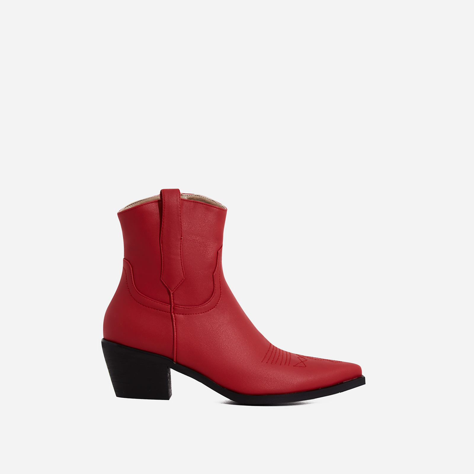 Reema Western Ankle Boot In Red Faux Leather