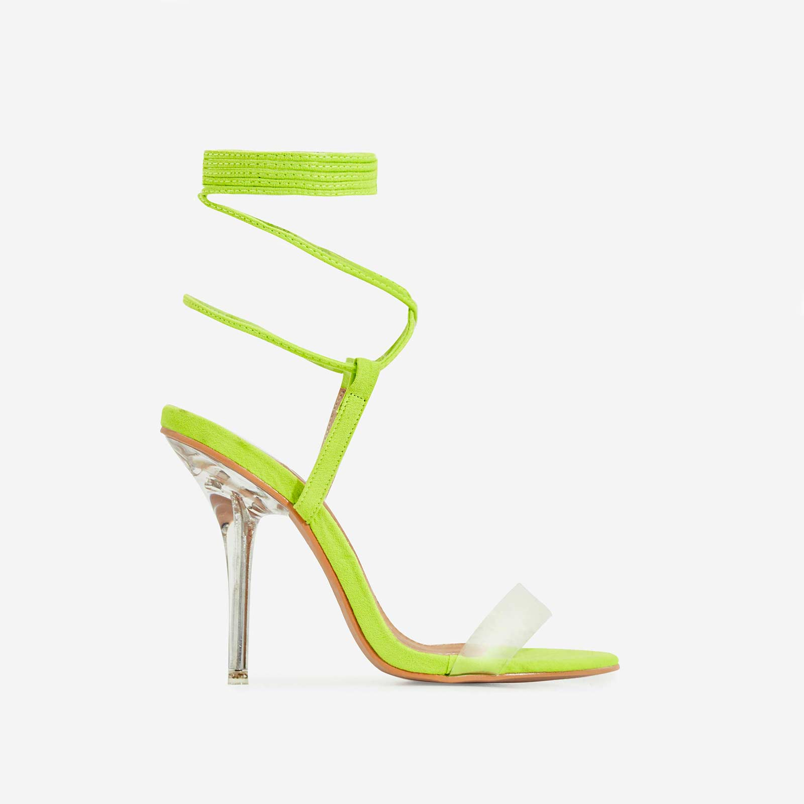 Rigby Lace Up Perspex Heel In Lime Green Faux Suede