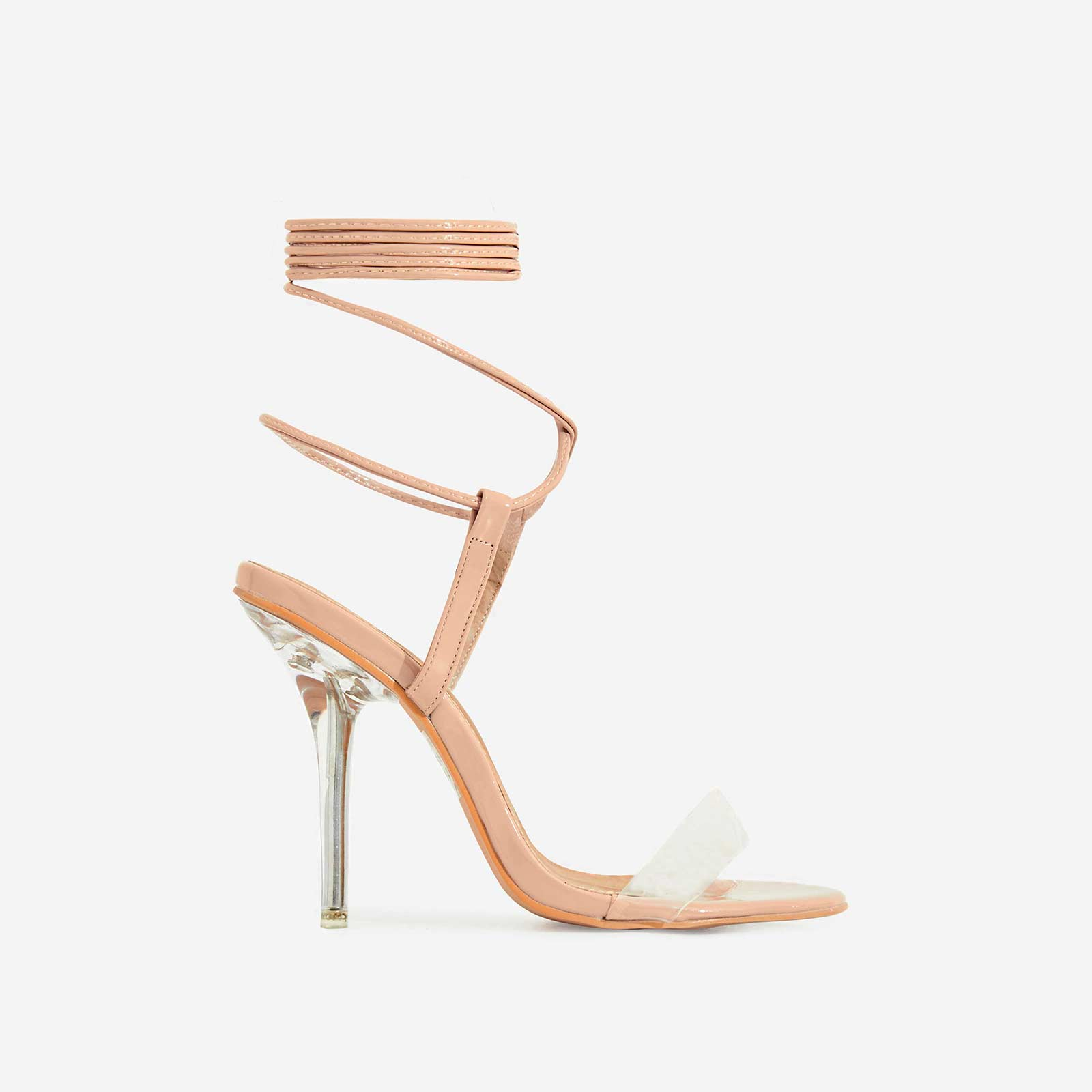 Rigby Lace Up Perspex Heel In Nude Patent