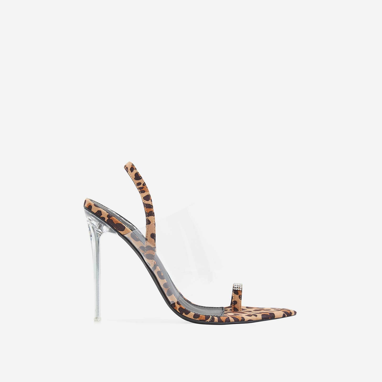 Rina Dimante Pointed Perspex Heel In Tan Leopard Print Faux Suede