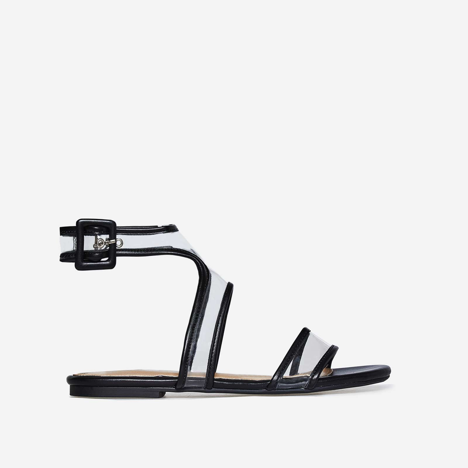 Rita Perspex Sandal In Black Faux Leather