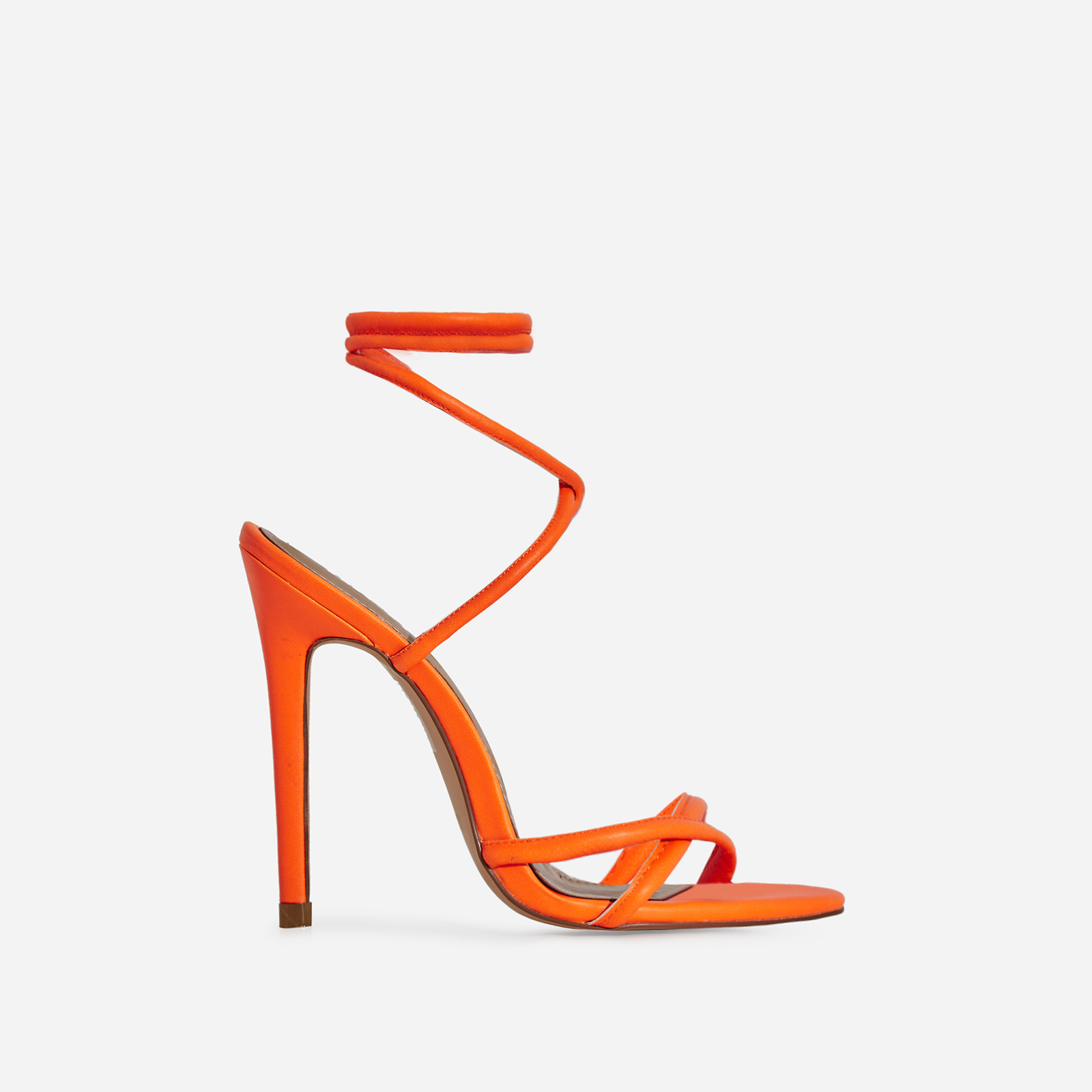 Rochelle Lace Up Barely There Heel In Neon Orange Faux Leather