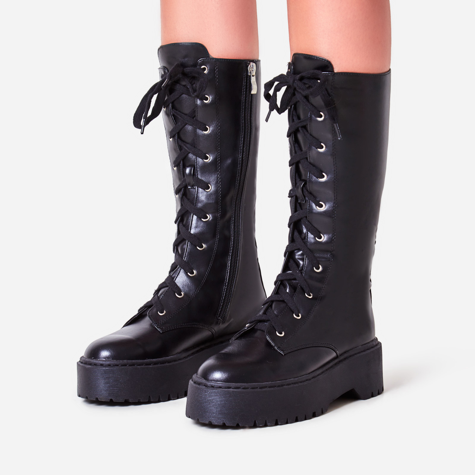 Tribeca Knee High Lace Up Ankle Biker Boot In Black Faux Leather