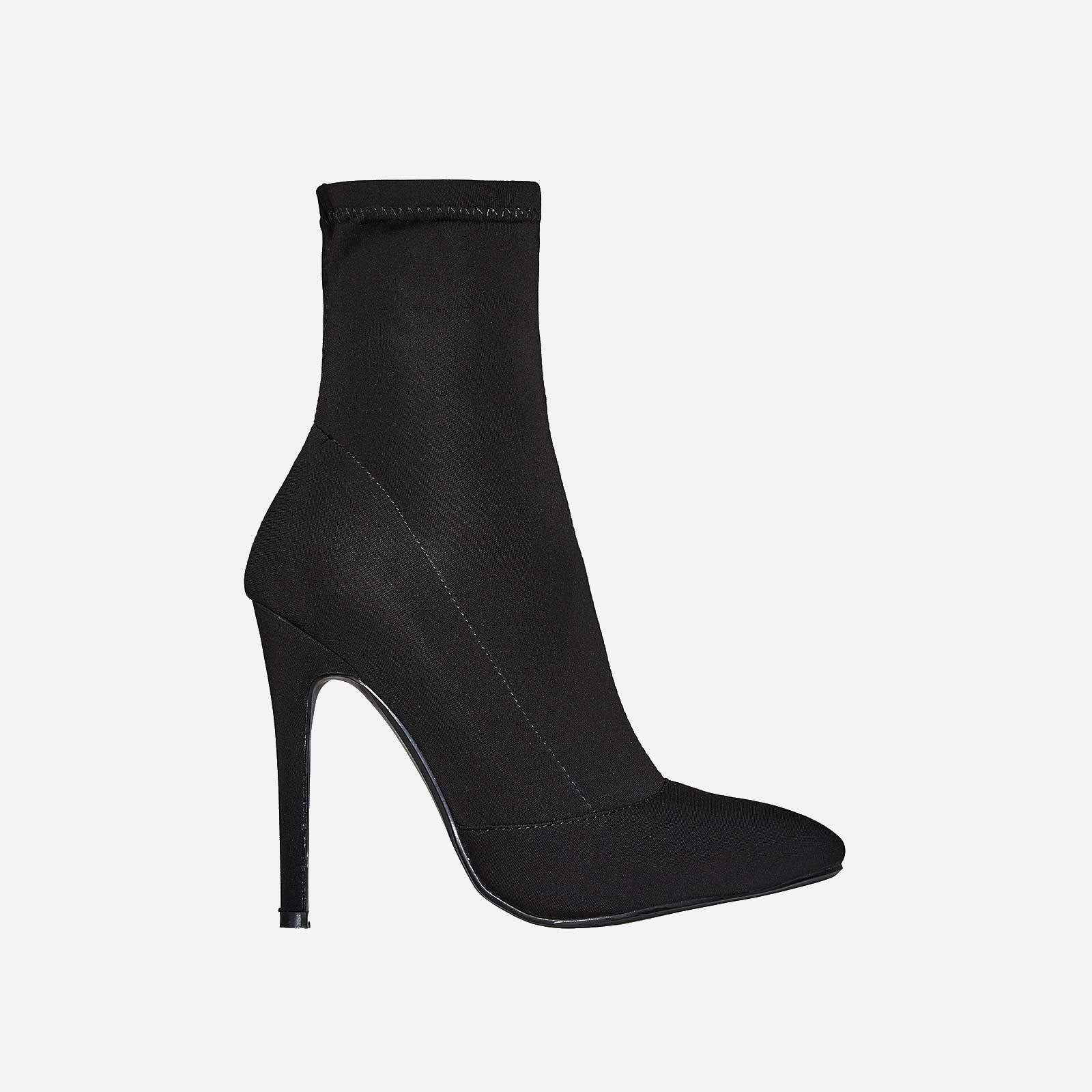 Rolo Pointed Toe Sock Boot In Black Lycra