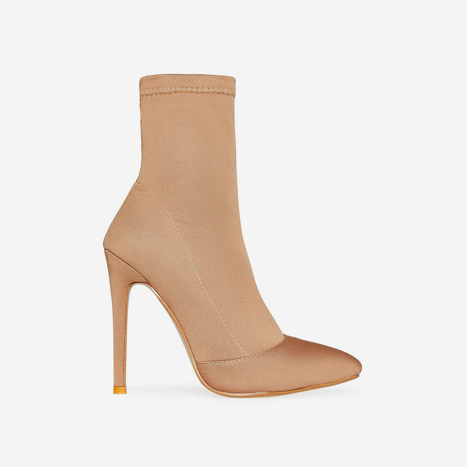 Rolo Pointed Toe Sock Boot In Nude Knit