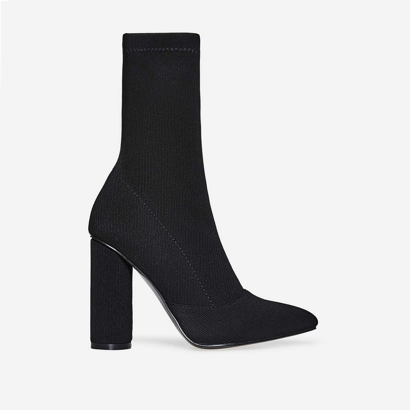 Rose Ribbed Block Heel Sock Boot In Black Knit