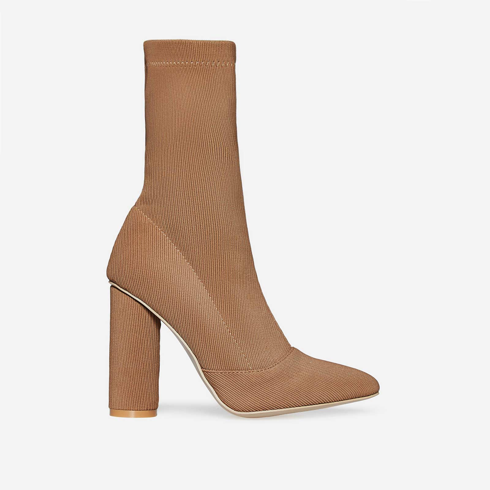 Rose Ribbed Block Heel Sock Boot In Nude Knit