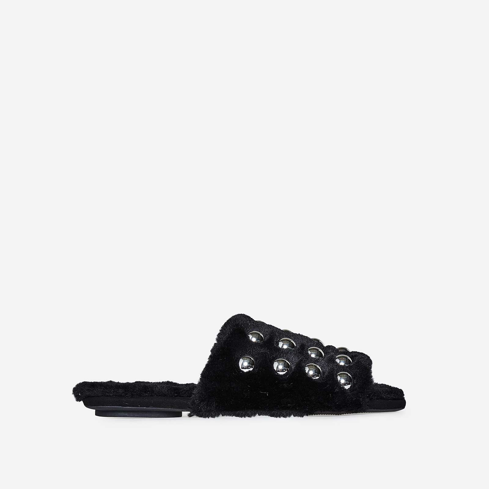 Rossi Studded Detail Flat Mule In Black Faux Fur