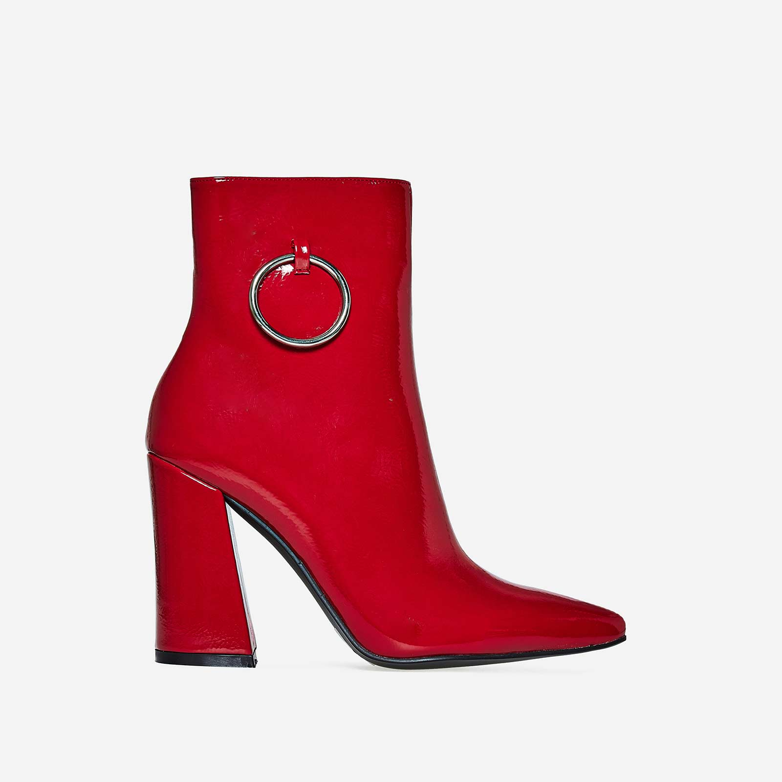 Ruben Pull Ring Detail Ankle Boot In Red Patent