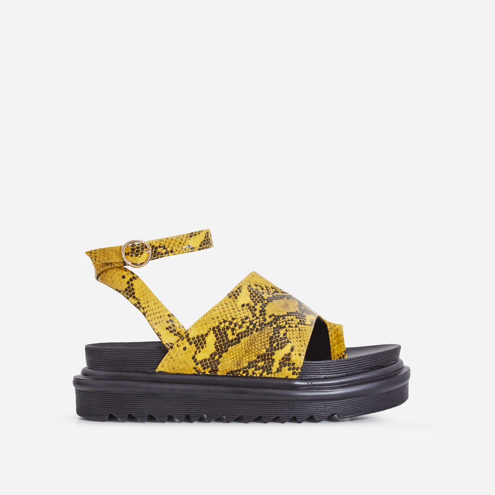 Ruth Chunky Sole Sandal In Yellow Snake Print Faux Leather