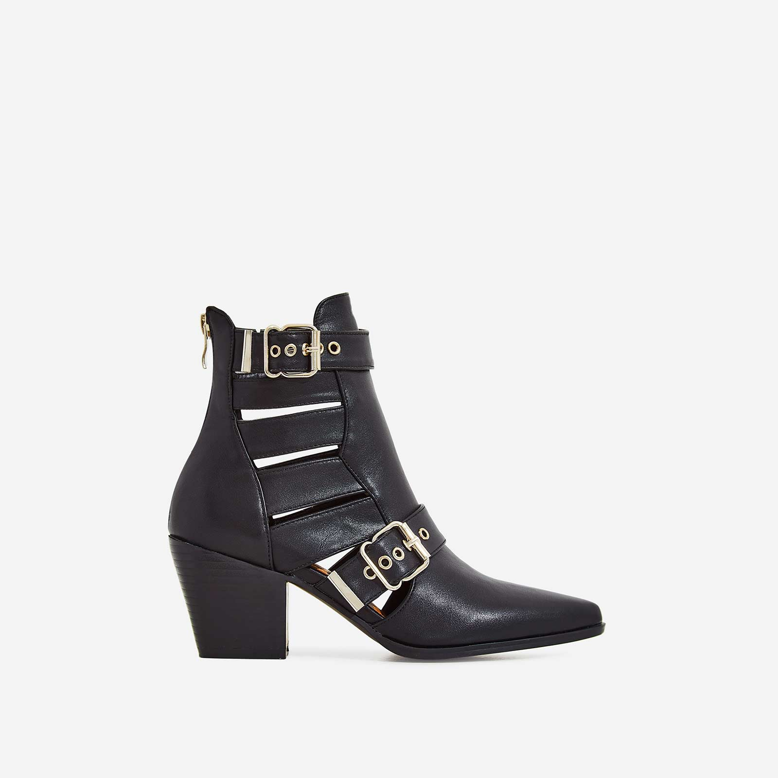 Ryder Cut Out Western Ankle Boot In Black Faux Leather