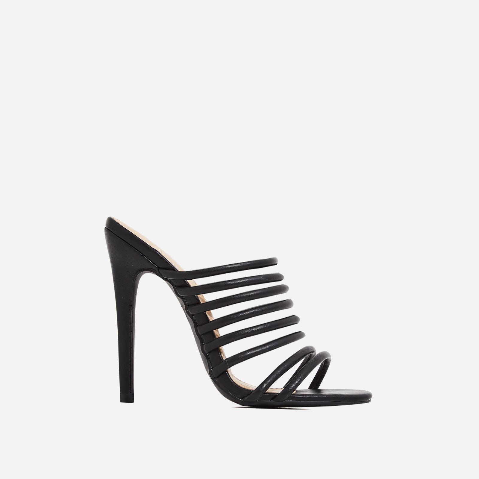 Saffiyah Strap Detail Heel Mule In Black Faux Leather