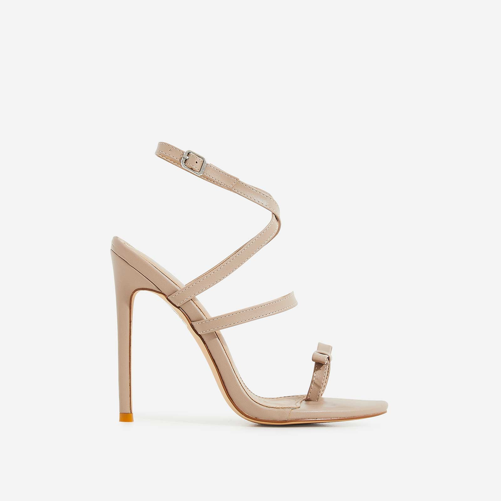 Samira Bow Detail Barely There Heel In Nude Faux Leather