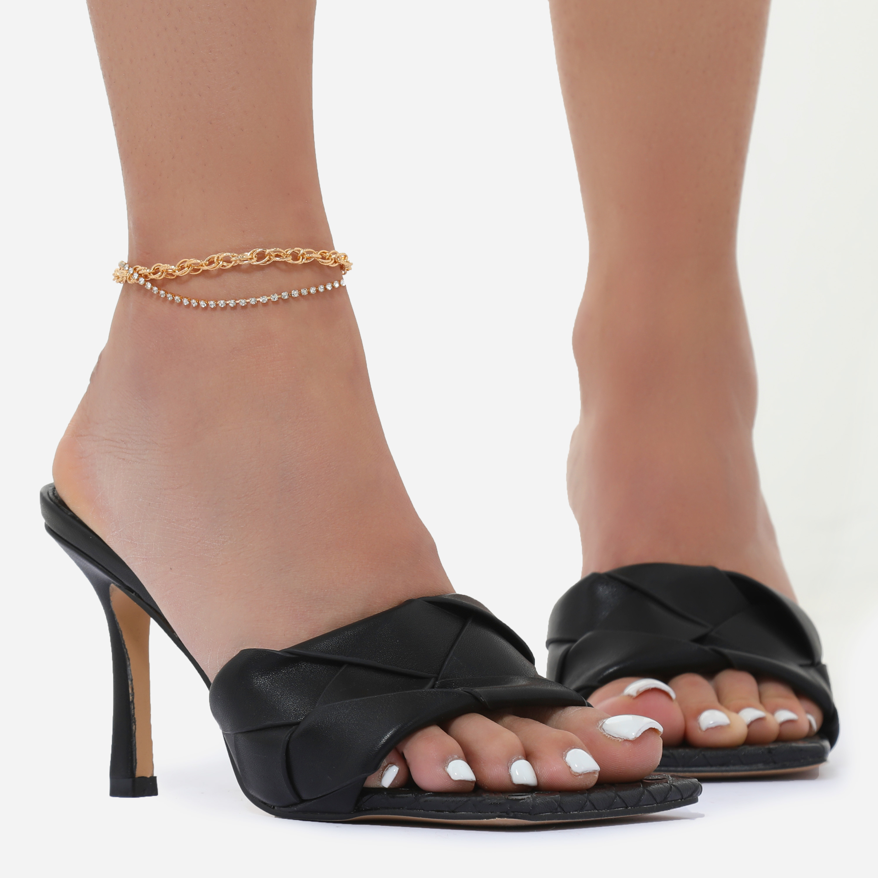 Diamante Detail Chain Anklet In Gold