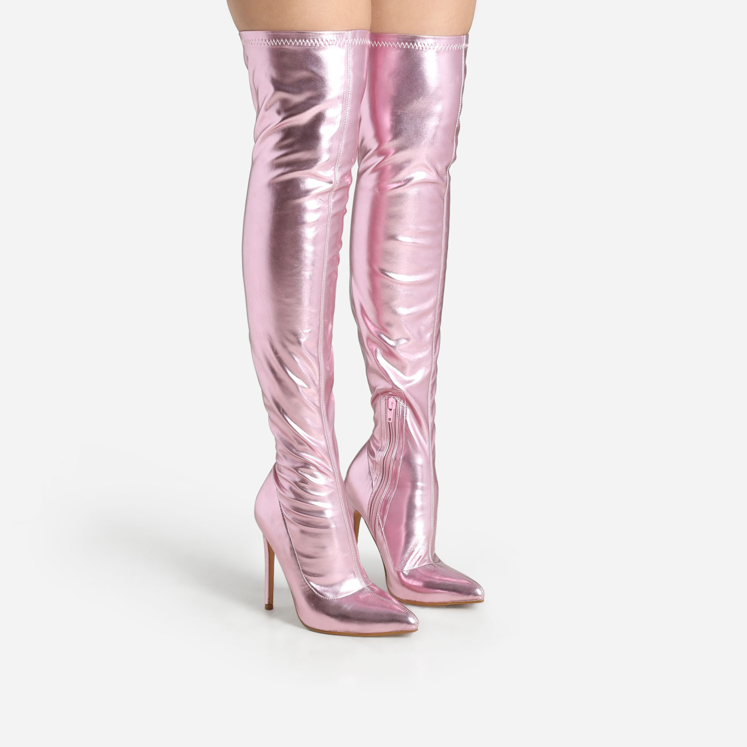 JoJo Over The Knee Thigh High Long Boot In Pink Holographic Faux Leather