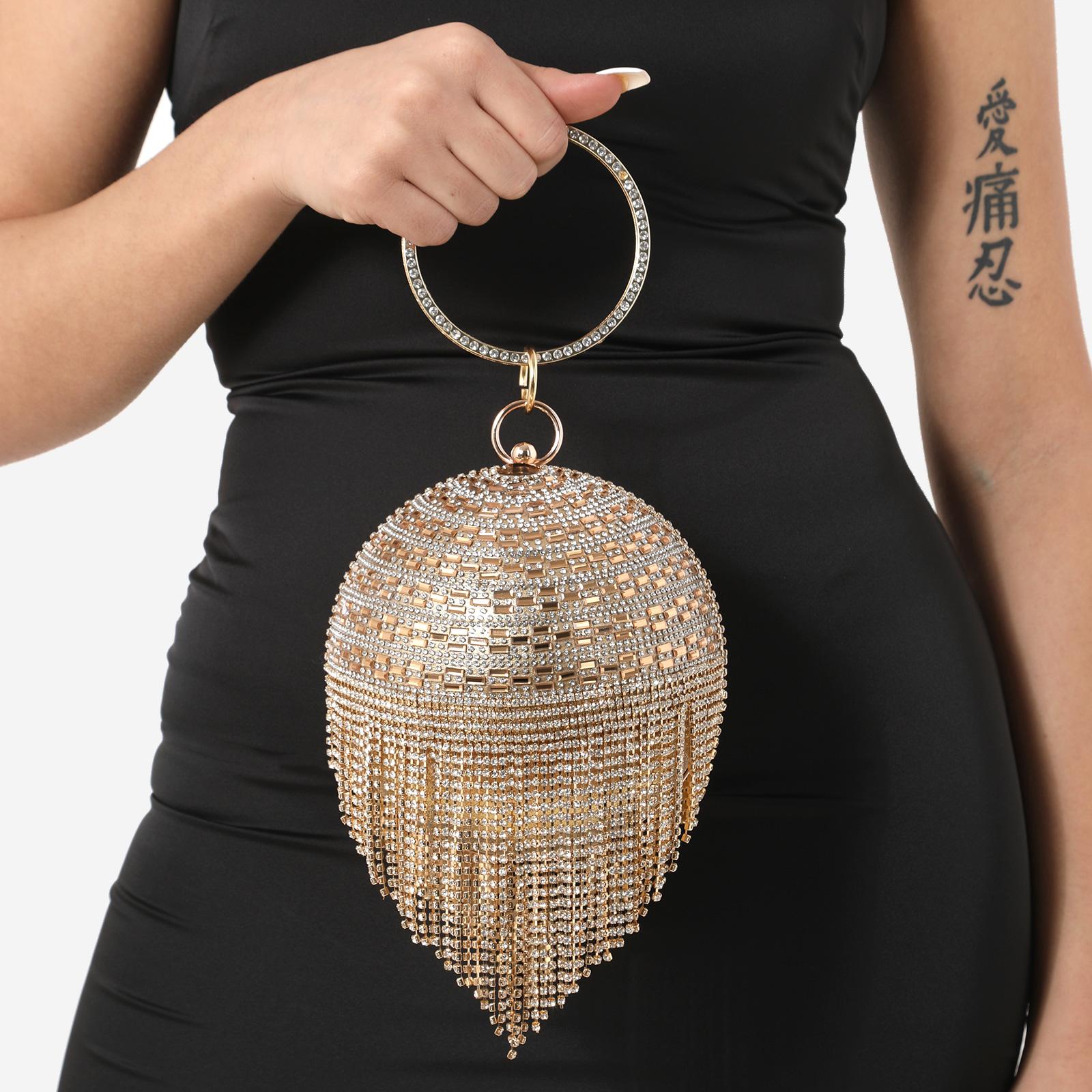 Tassel Detail Diamante Sphere Bag In Gold