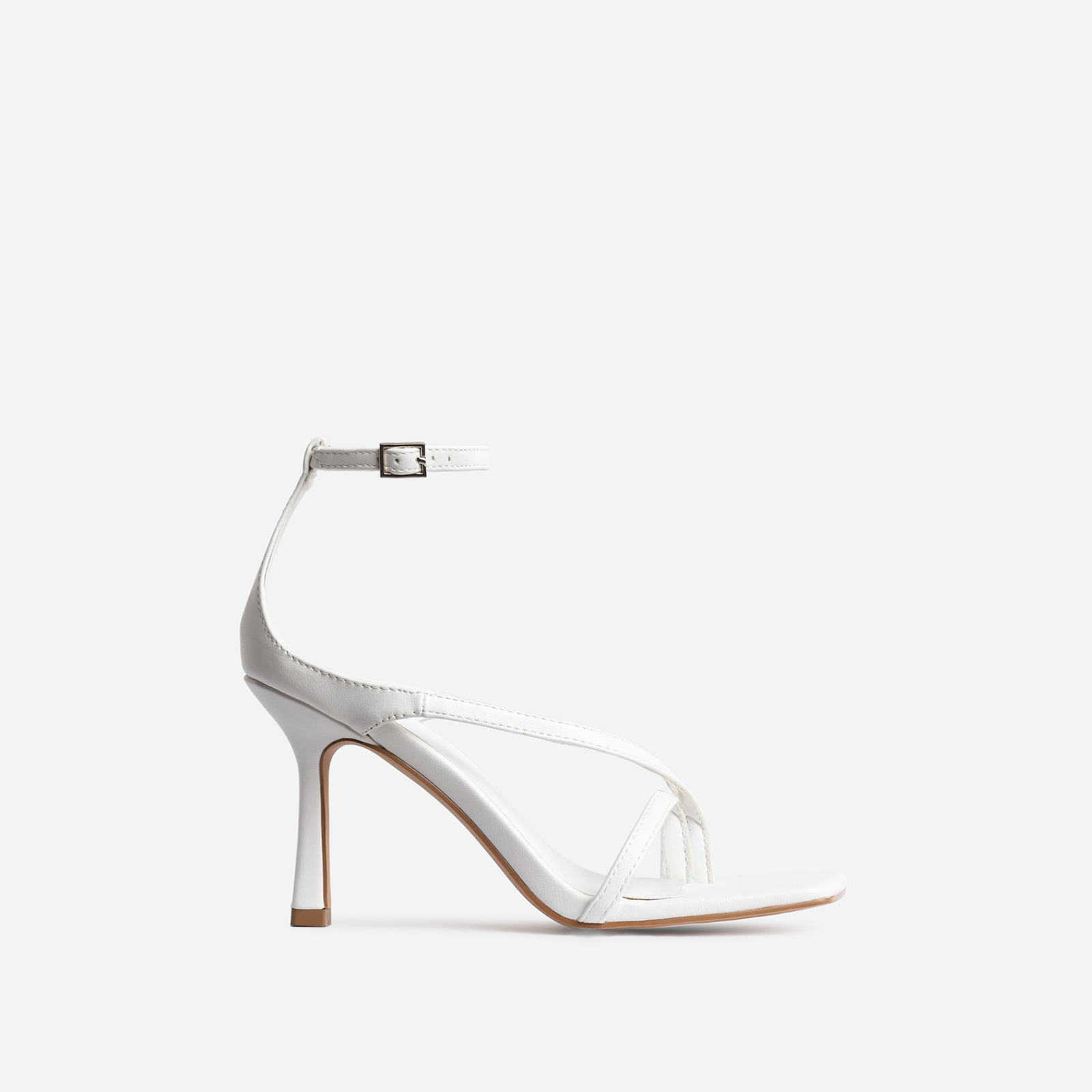 Eve Square Toe Strappy Heel In White Faux Leather