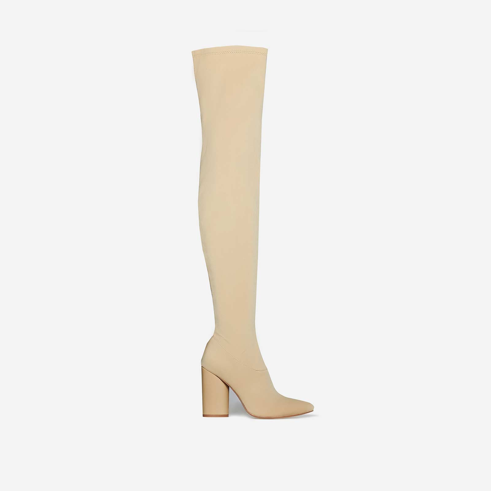 Shoes Jamila Thigh High Long Boot In Nude Lycra, Women's Size UK 9