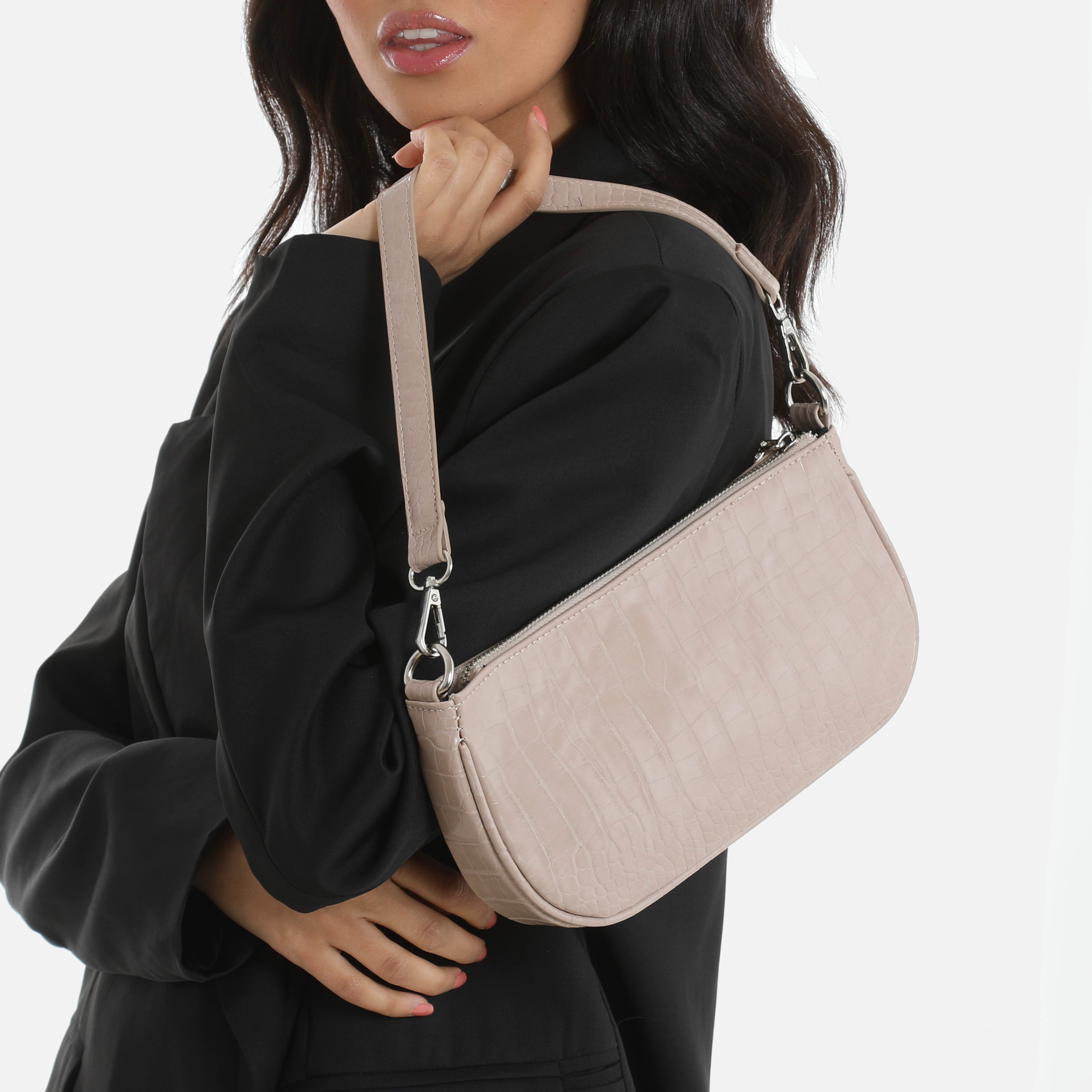 Baguette Bag In Nude Print Faux Leather