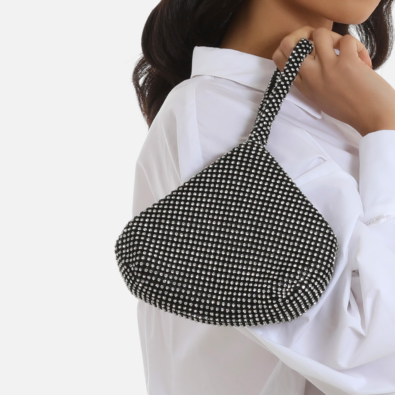 Chainmail Pyramid Grab Bag In Black Diamante