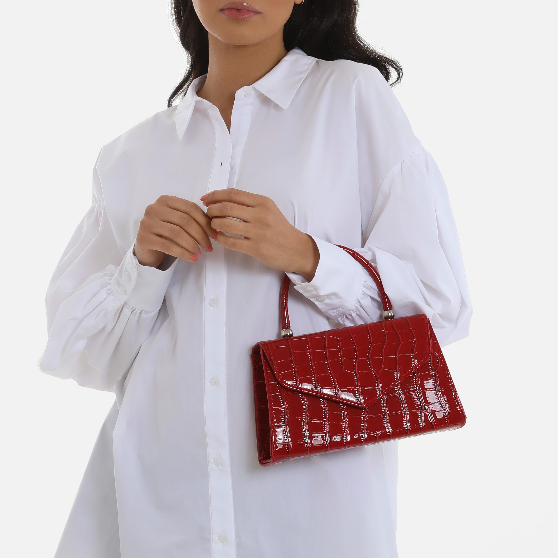 Chain Detail Boxy Handbag In Burgundy Croc Print Patent