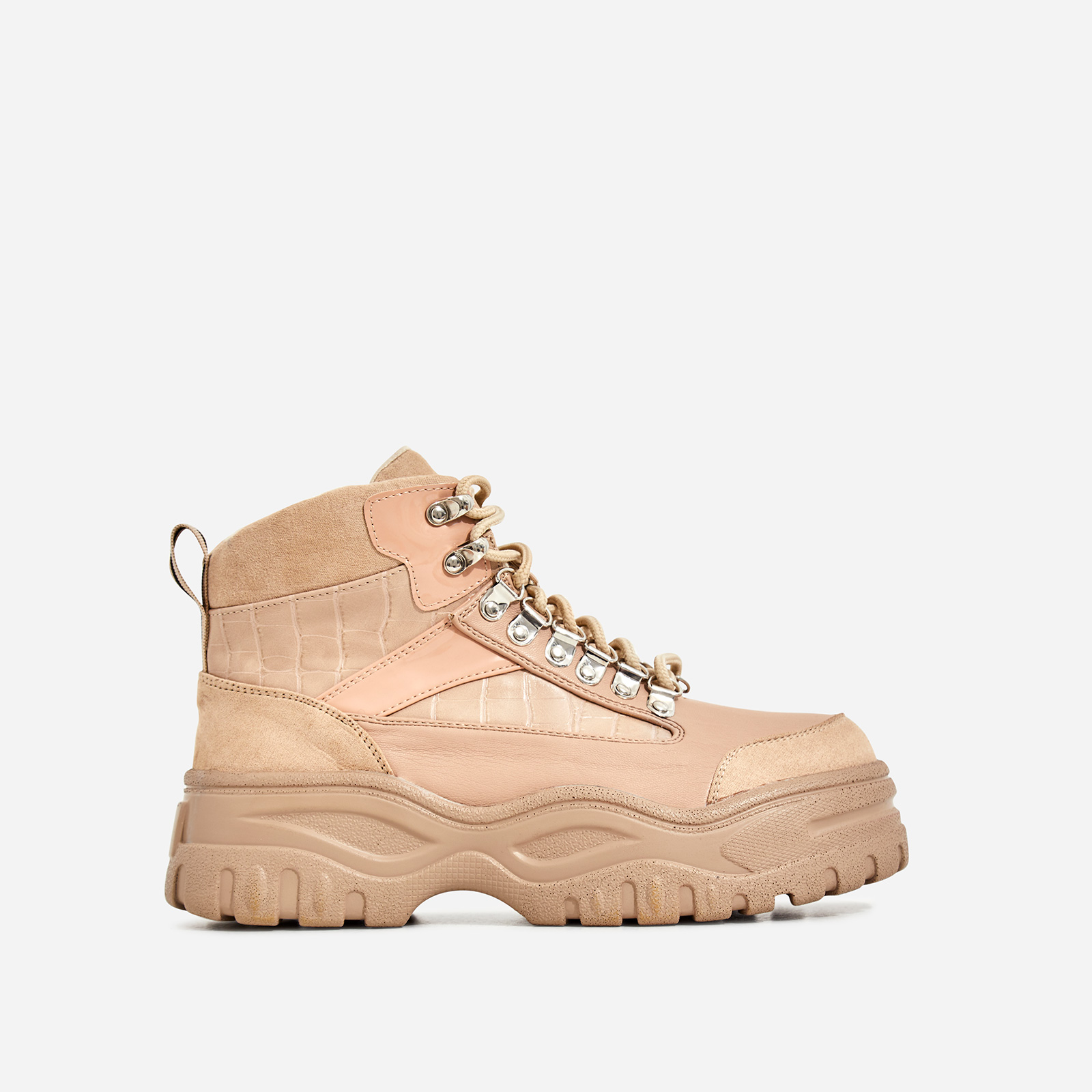 Hammer Lace Up Chunky Sole Ankle Hiker Boot In Nude Croc Print Faux Leather
