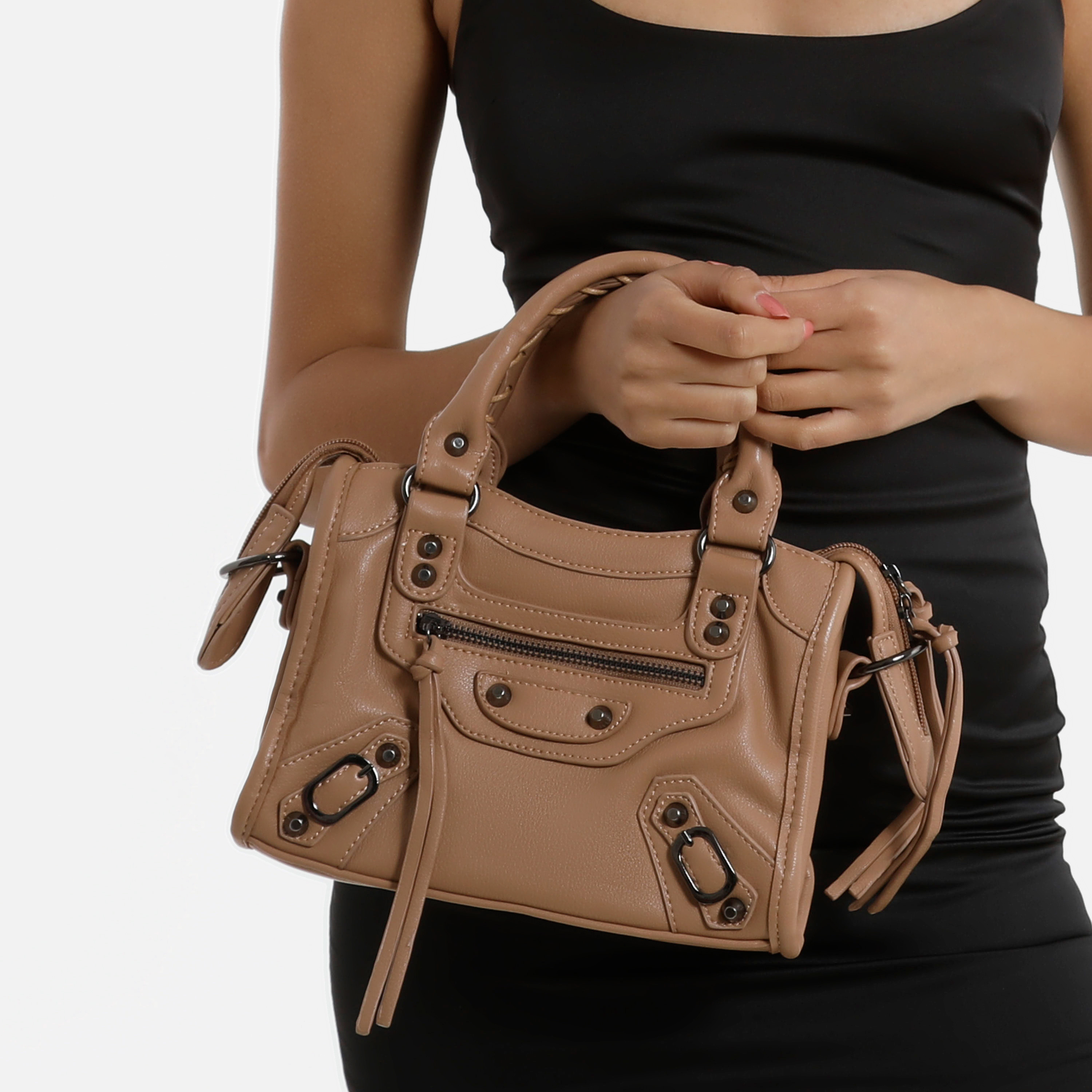 Buckle Detail Mini City Bag In Nude Faux Leather
