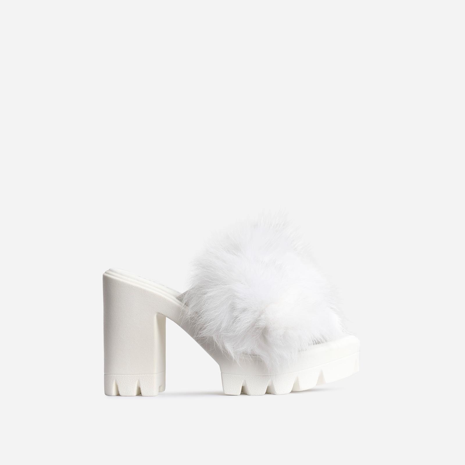 Sassy Platform Peep Toe Heel Mule In White Faux Fur