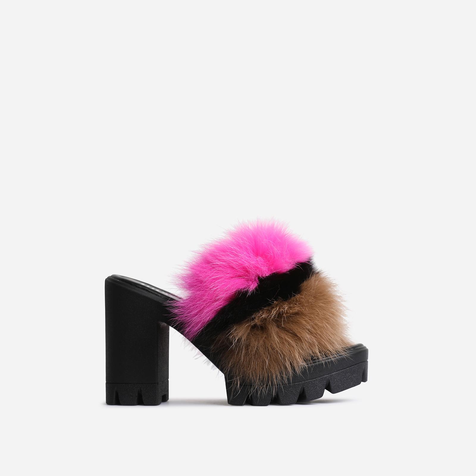 Sassy Platform Peep Toe Heel Mule In Black Faux Fur
