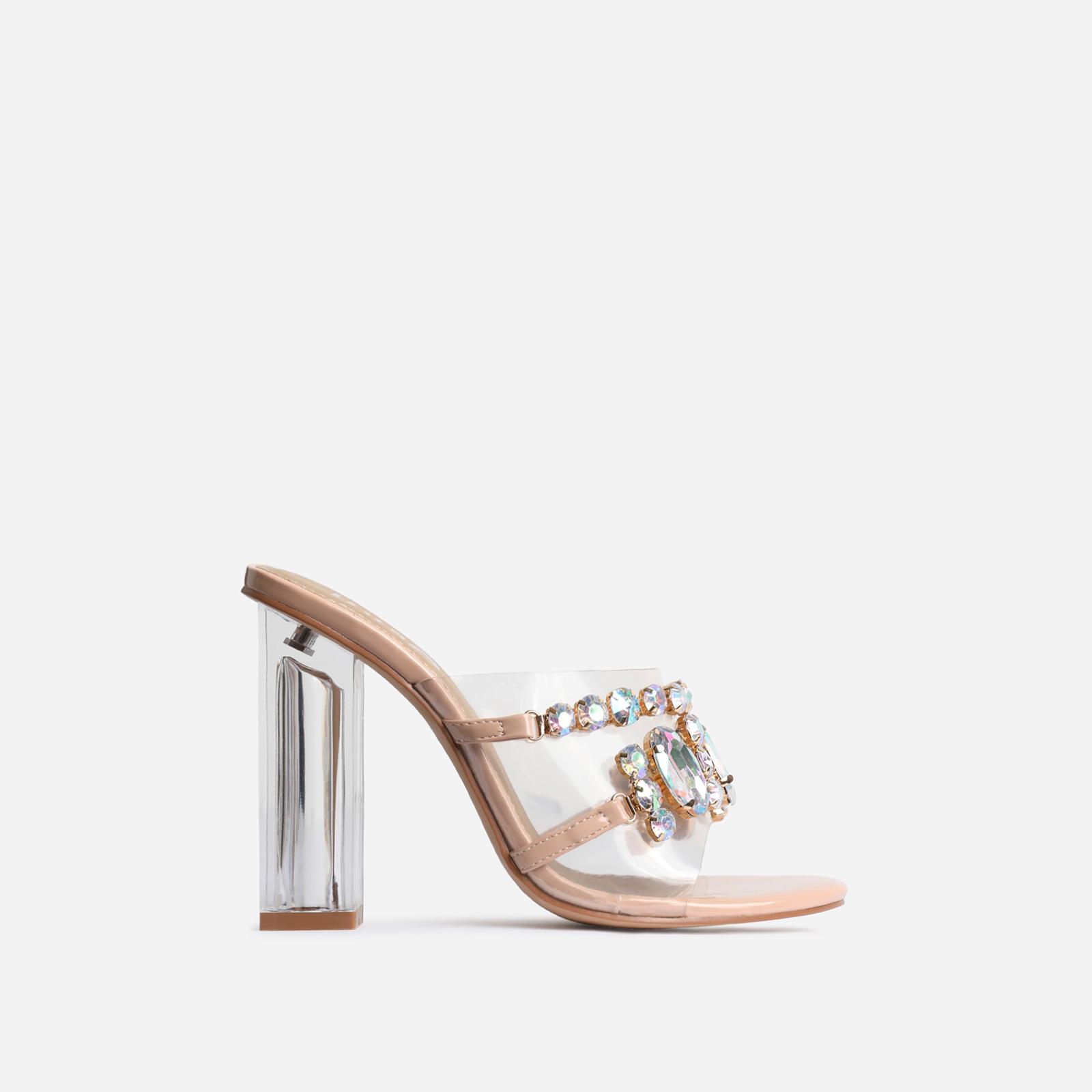 Frost Gem Embellished Perspex Peep Toe Block Heel Mule In Nude Patent