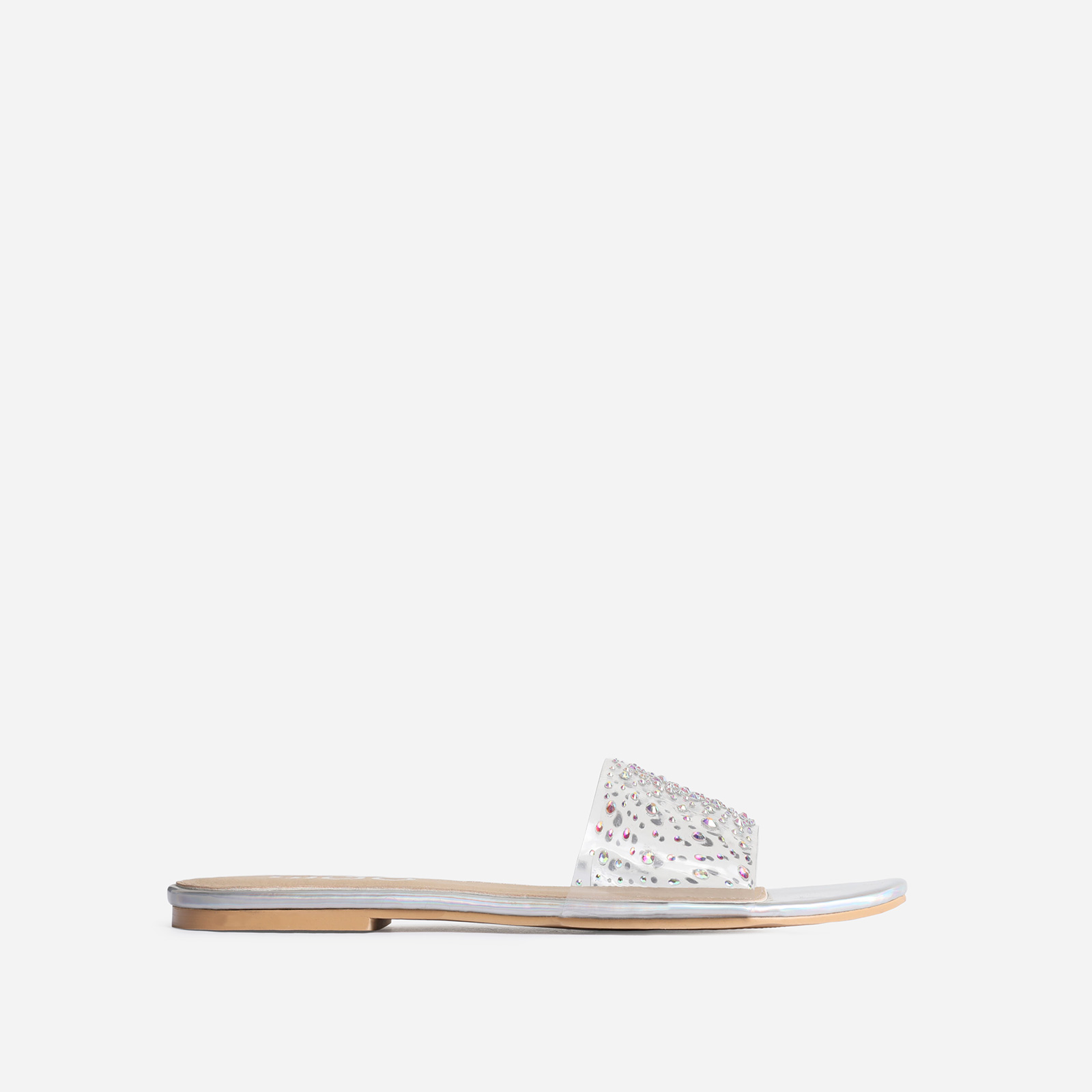 Stunning Diamante Detail Perspex Flat Sandal In Silver Holographic Faux Leather